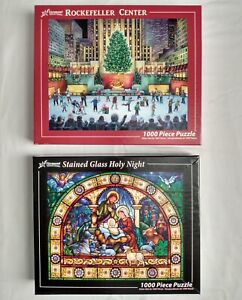 2 Lot Vermont Christmas Co Puzzles Rockefeller Center Stained Glass Holy Night