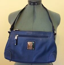 Tignanello Pebble Leather Top Zip Shoulder Hand Bag with Key Fob (NAVY BLUE) NEW