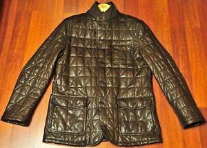 Ermenegildo Zegna Brown Quilted Lamb Leather Jacket Coat Size 56 fits like 52