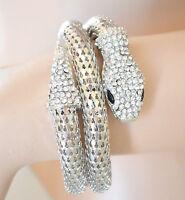 BRACCIALE donna SERPENTE argento semi rigido strass a schiava metallo lucido B34