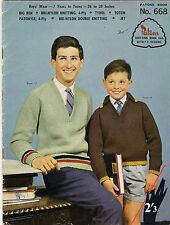 Knitting, Vintage Patons Boys' Wear, 9 Patterns in Different Ply Wool, Book 668