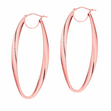Italian Large Oval Oblong Hoop Earrings Real 14K Rose Pink Gold ITALY 1 3/4""