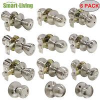 6PACK Nickel Tulip/Round/Flat Door Knob Entry/Privacy/Passage/Half Dummy Lockset