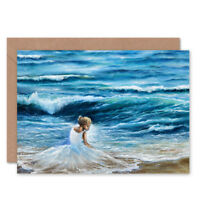 Lady Wearing White By The Sea Card With Envelope
