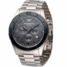 Emporio Armani AR9502 Silver Black Leather Mens Digital Analogue Designer Watch