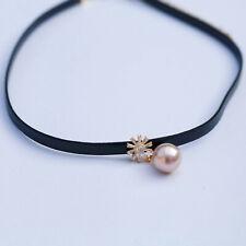 136 AAAA+ 11.5mm Freshwater Baroque Purple pearl flower Pendant leather choker