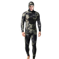 3MM Camo Neoprene Diving Wetsuit Two-Piece Fullsuit with Hood Jacket & Long John