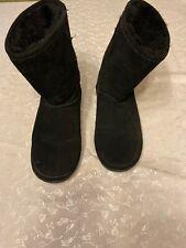 BEARPAW Womens 10 Emma Short Black Suede Boots Ladies Comfort Winter