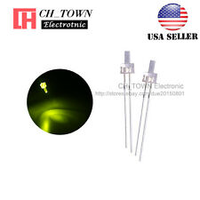100pcs 2mm LED Diodes Water Clear Yellow-Green Light Flat Top Transparent USA