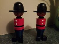 Adorable Pair Vintage Wooden Toy Soldier Figures SpinningMade in Czech Republic