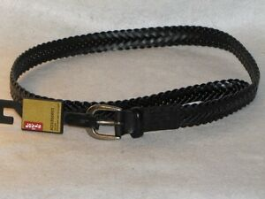 "New Boy's Black Bonded Leather Braided LEVI'S Belt, Sz X-Small 19"" - 21"""