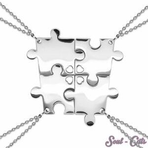 Puzzle Ciondolo 4 Parti Con Catena Acciaio Inox Amici Famiglia Argento