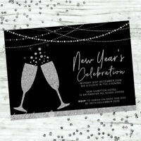 NEW YEARS EVE INVITATIONS INVITE PARTY 2018 BLACK SILVER GLITTER PERSONALISED