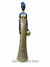 African Lady Woman Statue Figurine Gold Large 99 cm