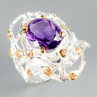 Fine Art Jewelry Natural Amethyst 925 Sterling Silver Ring Size 7.5/R122669