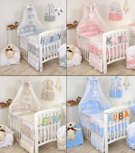 TEDDY MOON BABY BOY /BABY GIRL BEDDING SET COT or COT BED SIZE+MORE DESIGNS