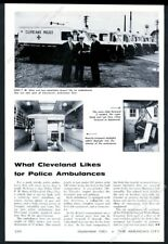 1961 Cleveland Police ambulance fleet & Police Chief photo vintage print article