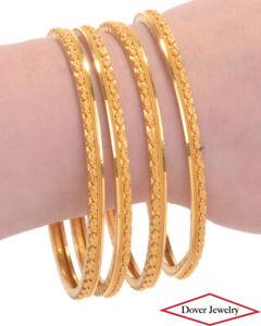 Vintage 18K Gold 4 Stackable Bangle Bracelet Set 51.1 Grams NR