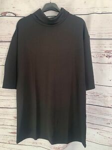 V by Very Ladies Black Roll Neck Longline Top Size 12 New With Tags