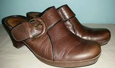 Brown Clarks Clogs Genuine Leather 8M Shoes 8 M Slides Booties Mules