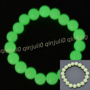 9-10mm Night Luminous Green Fluorite Gemstone Round Beads Elastic Bracelet 7.5''