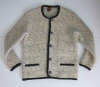 Strickwaren Tiroler Qualitats 100% Wool Ivory Black Cardigan Sweater Size 48 M-L