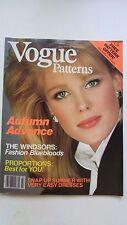 VOGUE Patterns Mag July/Aug 1982 Windsor Bluebloods,Autumn Easy Fashion,Dahl,VG!