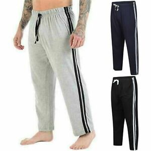 Mens 2 Pack Lounge Pants Nightwear Comfy Striped Trousers Bottoms Pyjamas Jog