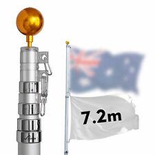 7.2m Aluminum Telescopic Flag Pole Flagpole Australian Flag Ball Top Kit