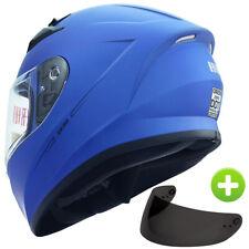 Full Face Street Bike Motorcycle Helmet +Free Smoked Shield Dot Matte Blue