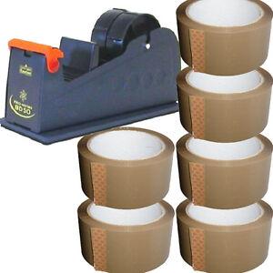 1 X 50mm Packing Tape Desktop Bench Dispenser 6X BROWN TAPE ROLLS 48mm X 66m
