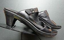 Women's Aravon Black Leather Adjustable Open-Toe Slide Sandal Sz. 9AA