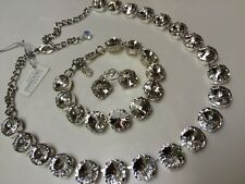 3pc jewelry set Swarovski crystal elements Necklace Bracelet Earring Clear NEW!