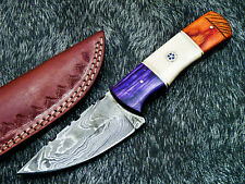 "STUNNING CUSTOM HANDMADE DAMASCUS 8.0"" HUNTING KNIFE - CAMEL BONE HANDLE UT-7237"