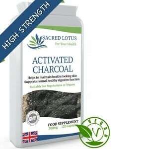 SACRED LOTUS ACTIVATED CHARCOAL 300 mg TOXIN CLEANSE DIGESTION SUPPORT 120 Caps