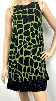 INC International Concepts Womens Dress Silk Giraffe Green Black Beaded Size 2