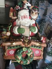 BeautifUl LARGE FITZ & FLOYD FATHER CHRISTMAS SANTA SLEIGH COOKIE JAR