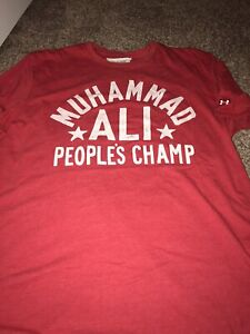 ROOTS OF FIGHT UNDER ARMOUR BOXING MUHAMMAD ALI RED T-SHIRT XXL 2XL