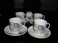 SYLVAC WARE LIME GROVE / BLUE LEAVES CUPS AND SAUCERS SET