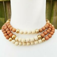 Boho Brown Red Gold Cream Wood Bead Triple Multi Layer Collar Bohemian Necklace