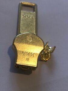 NO-10,YKK,GOLD/YELLOW BRASS,ZIP RUNNER/PULLER/SLIDER FOR NO-10 METAL TOOTH ZIP