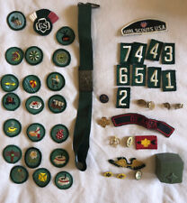 Vintage Girl Scout Patches (25), Pins (11), Estate Lot Badges Belt Ring Box