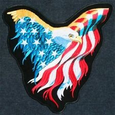 Flying Eagle USA Flag Colors Wings Spread Large Embroidered Back Patch Backpatch