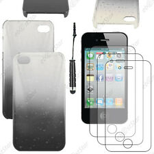 Housse Etui Coque Rigide Gouttelettes Noir Apple iPhone 4S 4+Mini Stylet+3 Films
