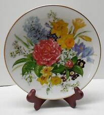 Plate with Flowers Gold Trim 1987 German Hutschenreuther Frublingsmorgen