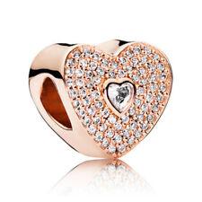 1pcs Rose Crystal Gold Charm Bead Fit European Charm Bracelet