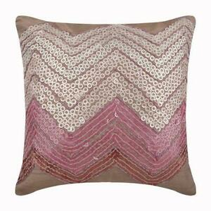 Pink Couch Pillow Cover 22x22 inch Decorative Silk, Sequins - Drama Princess