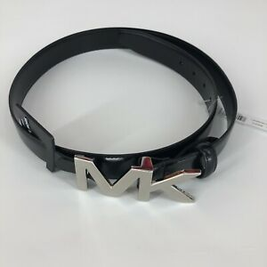 NWT MICHAEL KORS Men's 31MM MK Hardware Belt Size: 34 Black Leather $48