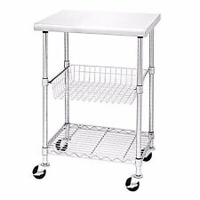 Seville Classics Stainless Steel NSF Certified Kitchen Work Table Cart-24x20x36""