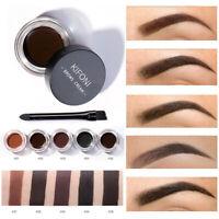 5 Colors Waterproof Eyebrow Cream Tint Pomade Gel Enhancer Eye Brow w/ Brush Set